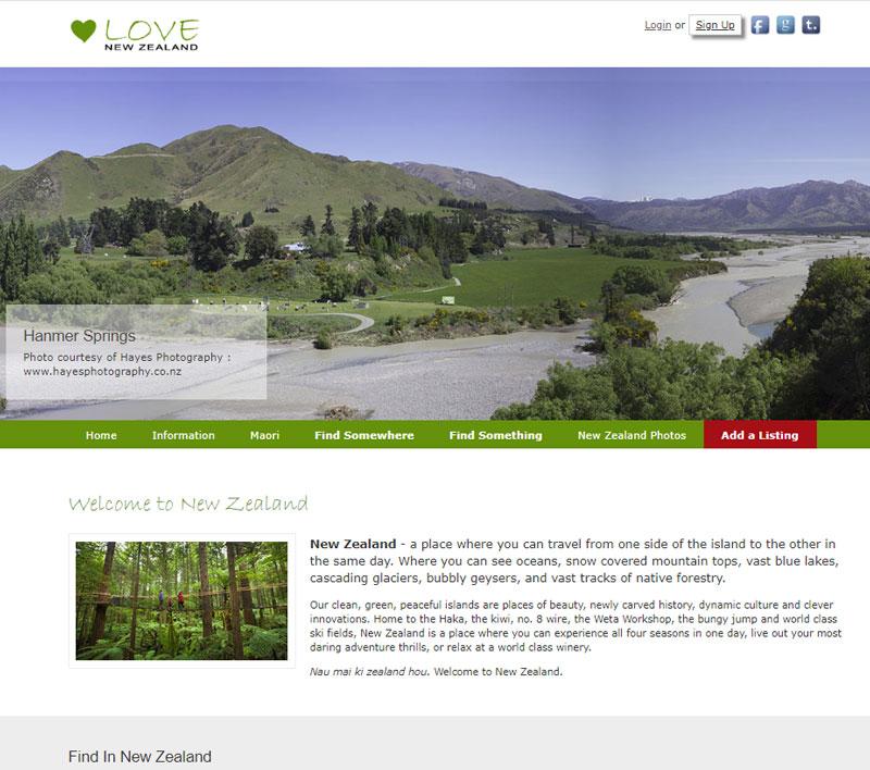 Website for Love New Zealand by Kiwi Web Works