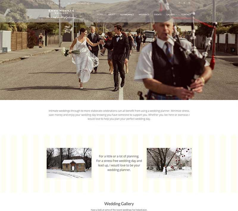 Emma Newman Weddings website by Kiwi Web Works