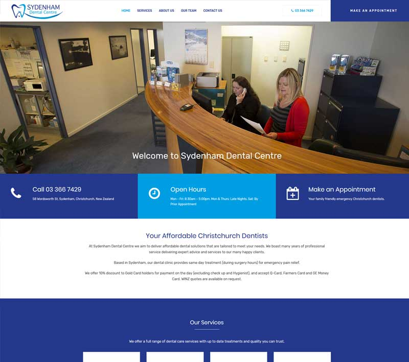 Sydenham Dental Centre website by Kiwi Web Works